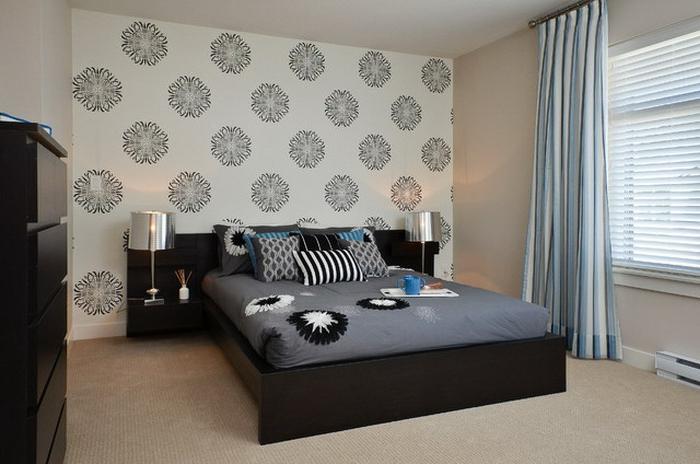 Schlafzimmer-Tapeten-weiß-schwarz-simplistisch