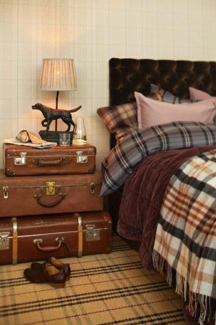 Schlafzimmer-männliches-Design-vintage-Teppich-Schlafdecke