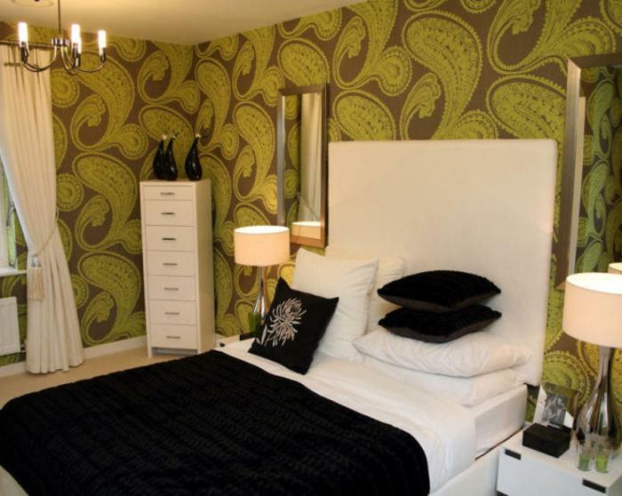 Schlafzimmer-Tapeten-braun-grün