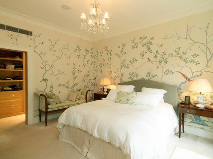 Schlafzimmer Tapeten Gr?n : cremige schlafzimmer tapeten mit muster in gr?n und grau