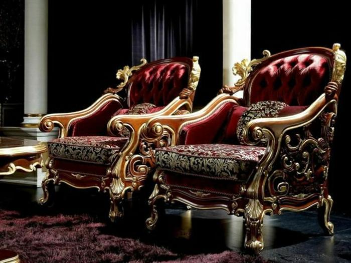 Sessel-weinrot-golden-Barock-Stil-flaumiger-Teppich-exquisite-Atmosphäre