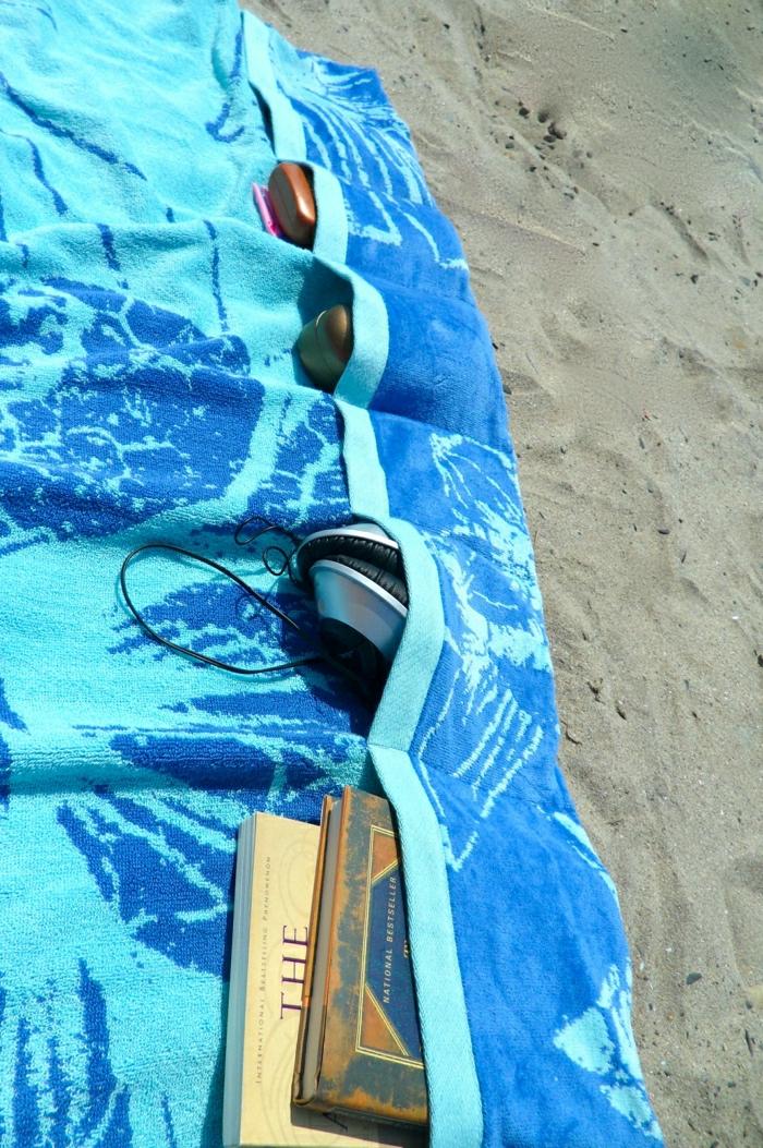 Sommer-Strand-Tuch-blau-Taschen-kreativ