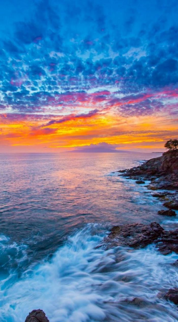Sonnenuntergang-Maui-Insel-Hawaii-Ozean-exotisch