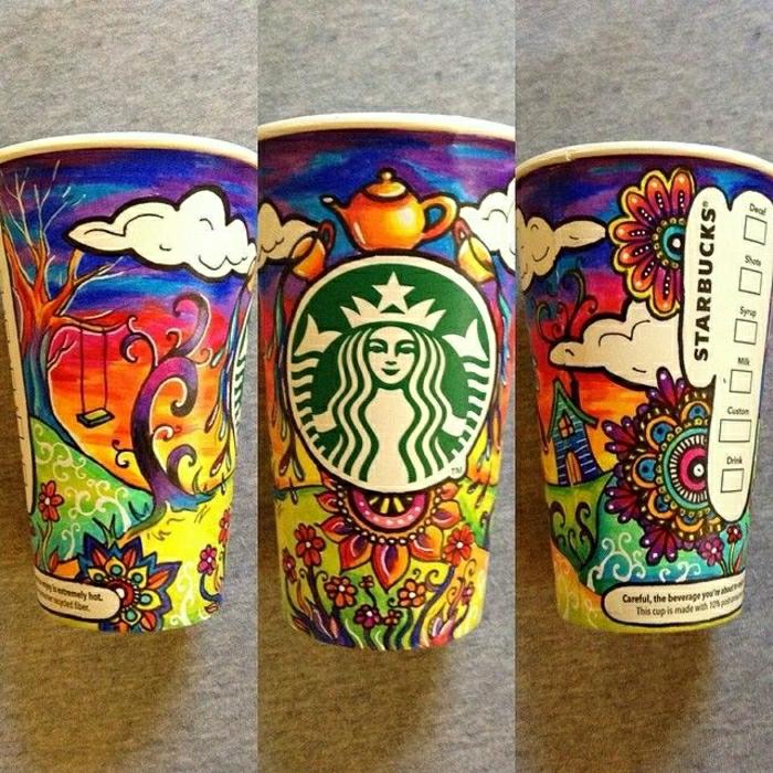 Starbucks-Papierbecher-bunte-Zeichnungen-kreativ