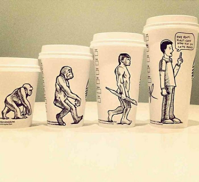 Starbucks-Papierbecher-verschiedene-Größen-Evolution-Zeichnungen-lustig