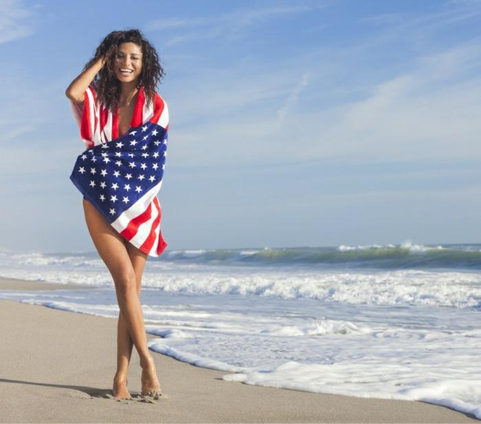 Strand-Tuch-amerikanische-Flagge