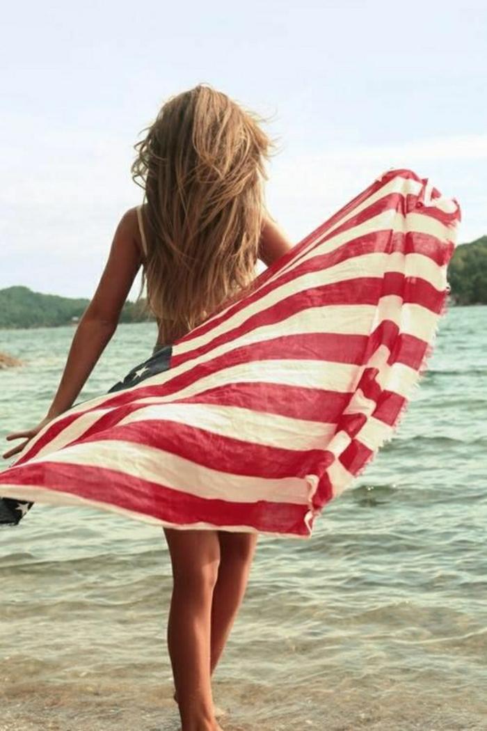 Strandtuch-amerikanische-Flagge-Muster