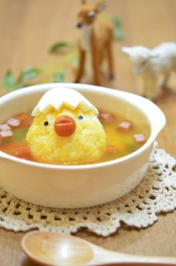 Kindergeburtstag-Essen-Suppe-Hähnchen-Ei-Karotte-lustig-süß