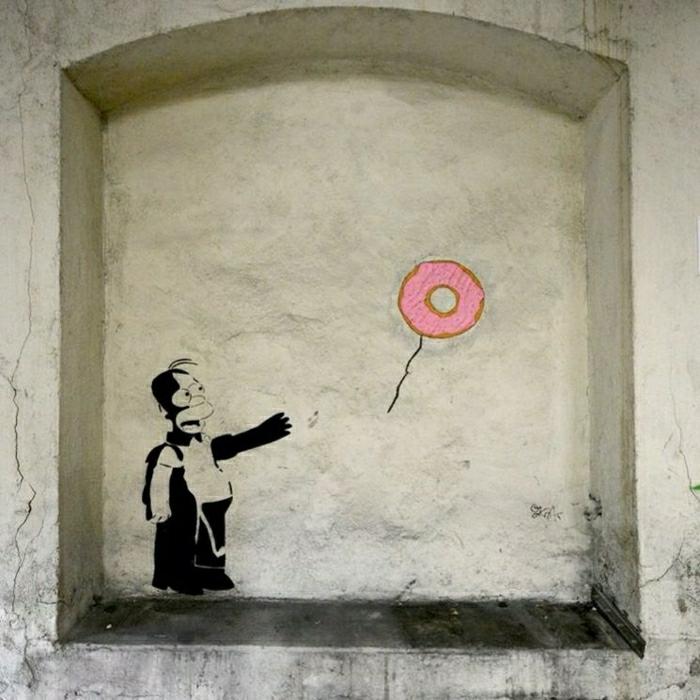 The-Simpsons-der-Vater-Donut-fliegend-Graffiti