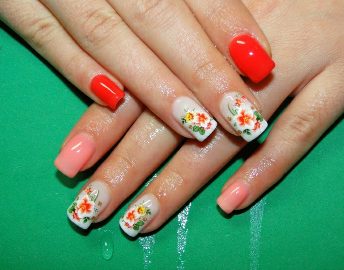 Thermo-Effekt-Nagellack-Nägel-zwei-Farben-tomatenrot-Körperfarbe-Blumen-Dekoration