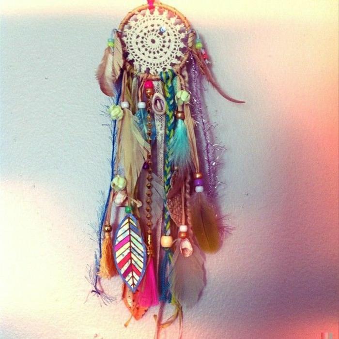 Traumfänger-Federn-bunt-Hippie-Mode-Glasperlen
