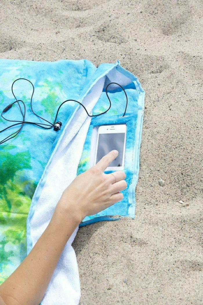 Tuch-Aqua-Nuancen-Handy-kreative-Idee