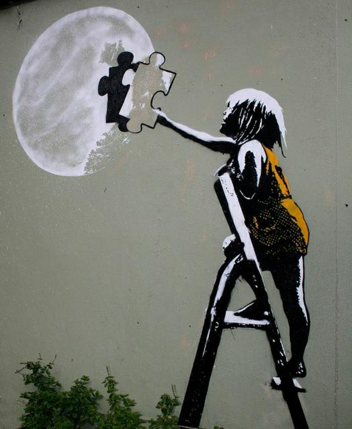 Wand-Graffiti-Bilder-Kind-Leiter-Mond-Puzzleteil