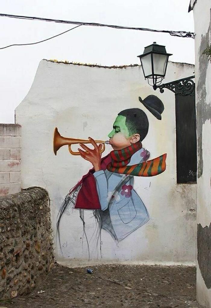 Wand-Graffiti-Musiker-Trompete-Hut-art