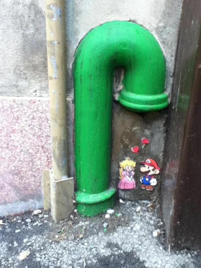 Wand-Graffiti-grünes-Rohr-Super-Mario-die-Prinzessin