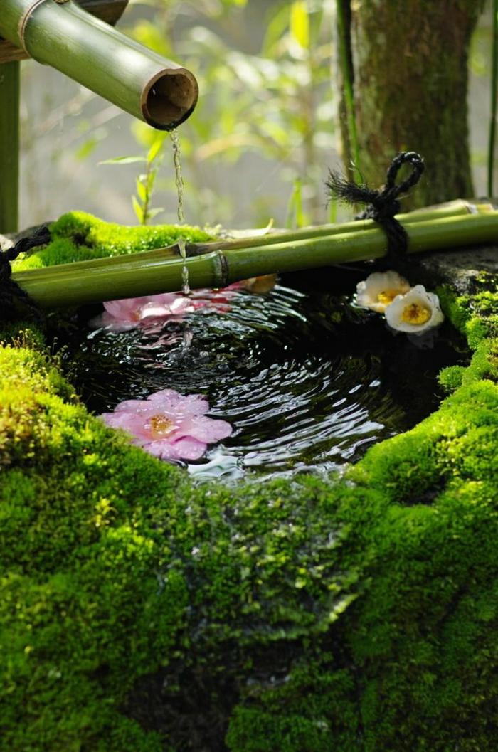 Zen-Garten-japanisch-asiatisch-Blumen-Bambus