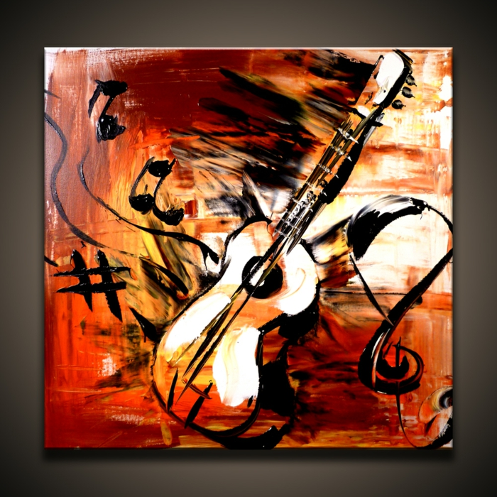 abstrakte-kunst-kreatives-aussehen-eine-gitarre