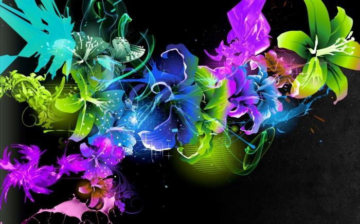 abstrakte-kunst-super-grelle-farben-schwarzer-hintergrund