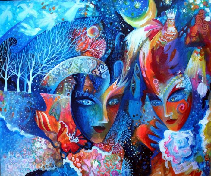 abstrakte-kunst-super-schöne-interessante-blaue-farbschemen