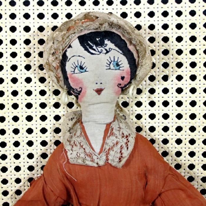 alte-Puppen-vintage-handgemacht-Hut-Kleider-Spitze