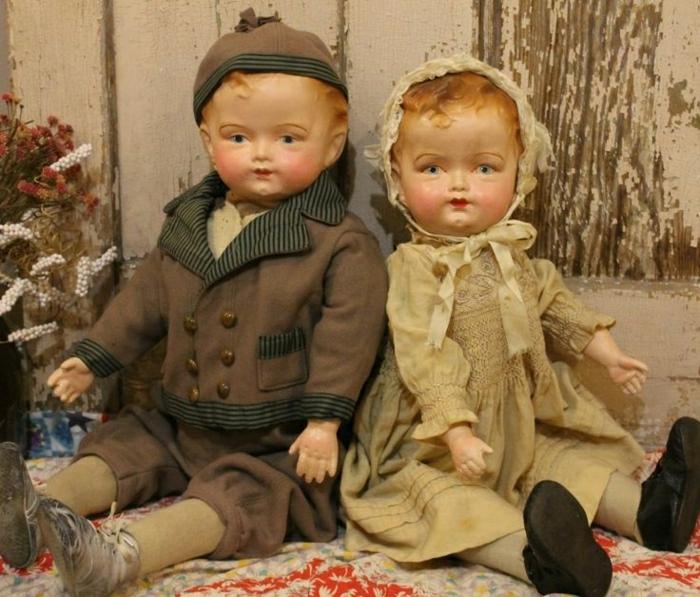 antike-Potzellanpuppen-kleiner-Junge-Baby-Mädchen