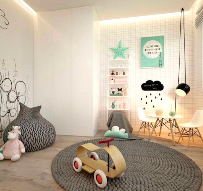 babyzimmer deko junge, grauer geflochtener teppich, spielzimmer gestalten, wanddeko blumen