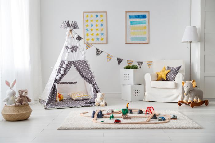 babyzimmer deko junge, tipi selber bauen, spielzimmer gestalten, kinderzimmer ideen