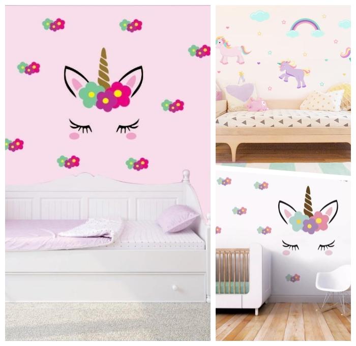 kinderzimmer dekorieren ideen, wandsticker einhörner, babyzimmer deko mädchen