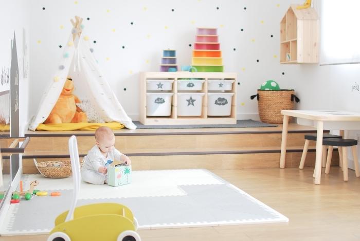 babyzimmer deko, zimmer zum spielen schaffen, spielzimmen gestalten, kinderzimmer
