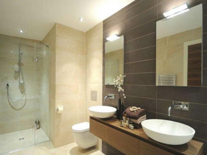 badezimmer-gestalten-Duschkabine-zwei-Waschbecken