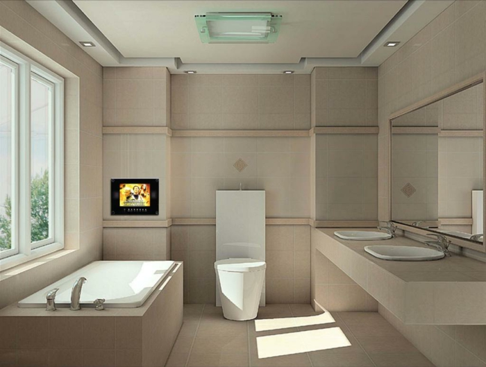 Badezimmer gestalten ultra modern mit Fenster eingebaute TV
