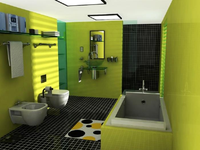 Badezimmer Gestalten In Grün Kleiner Teppich