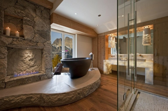 badezimmer-gestalten-luxirios-granite-Waschbecke-Kamin
