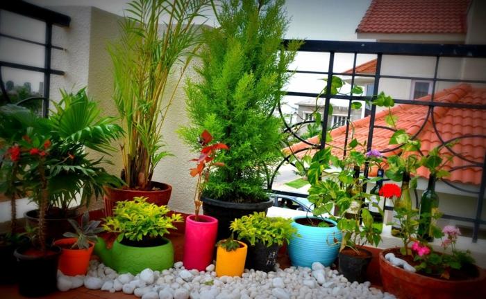 balkon-dekoration-viele-pflanzen-in-bunten-töpfen