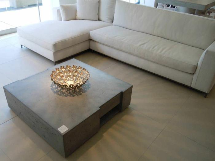 Beton Tisch? Eine originelle Einrichtungsidee! -> Quadratisches Sofa