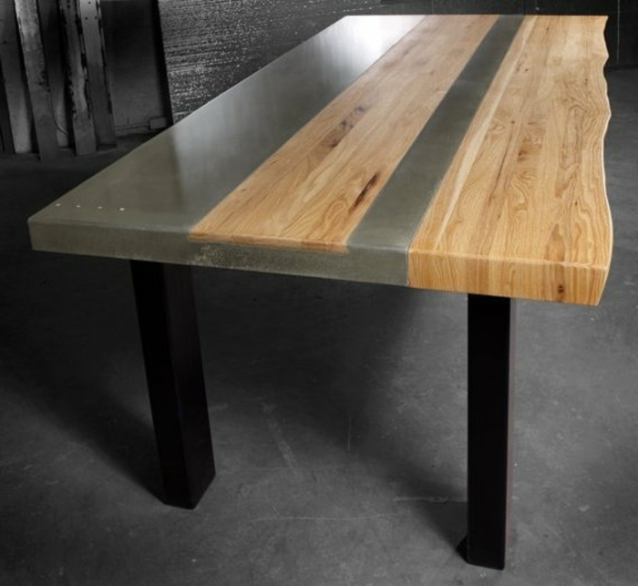 Tisch Holz Grau ~ Metal dining table room furniture with
