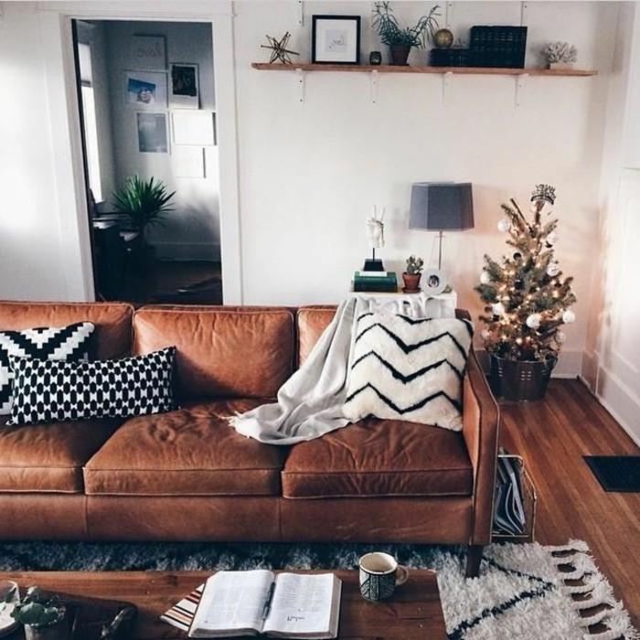 Modernes braunes Wohnzimmer gestalten