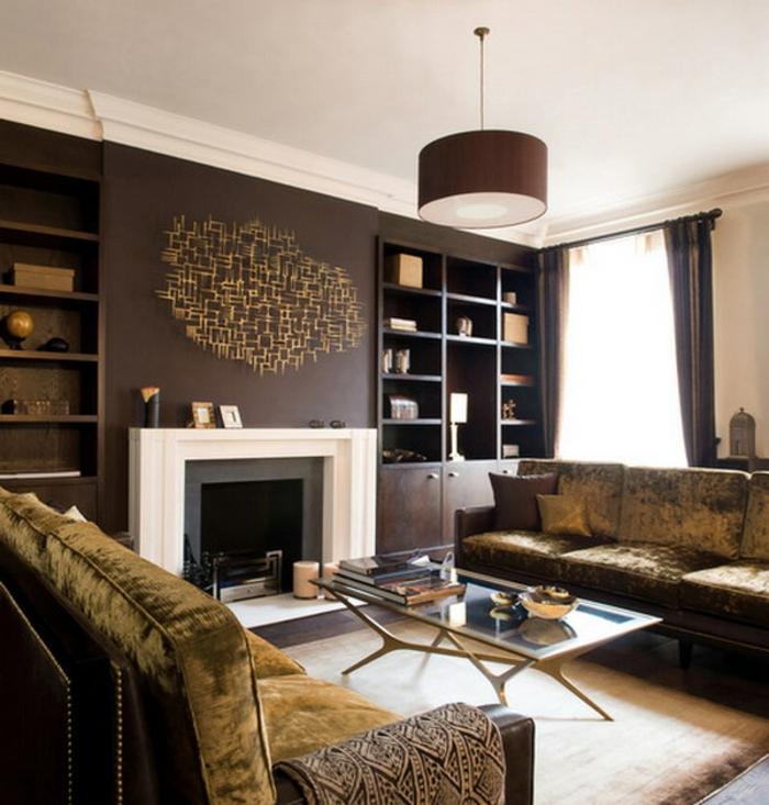 braunes-wohnzimmer-kamin-mit-weißem-rahmen