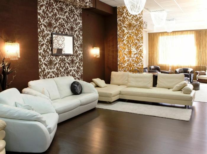 braunes-wohnzimmer-moderne-schöne-beleuchtung