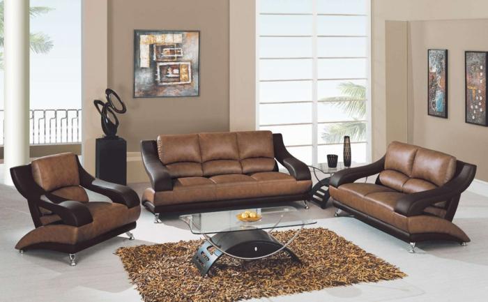 braunes-wohnzimmer-tolles-set-wunderschöner-teppich