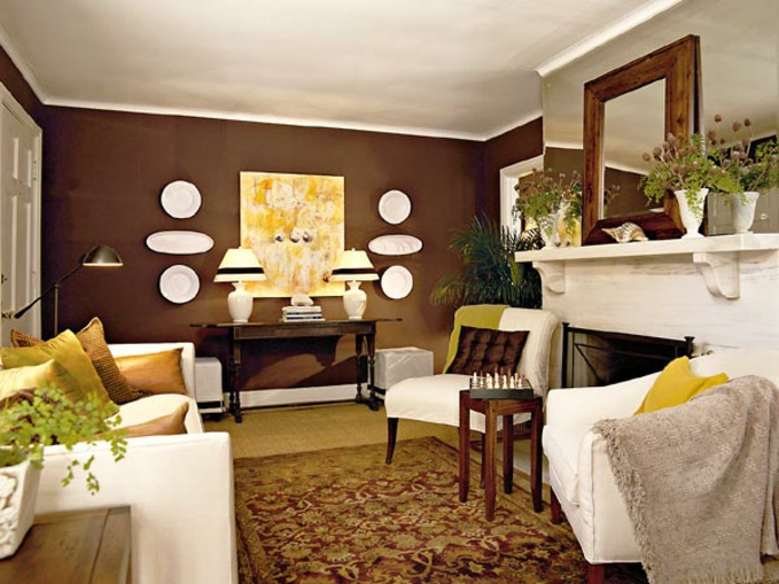 braunes wohnzimmer 35 super ideen. Black Bedroom Furniture Sets. Home Design Ideas