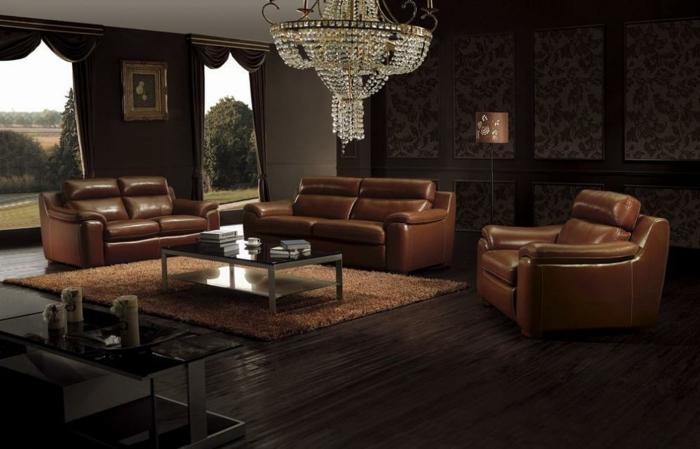 braunes-wohnzimmer-wunderschöner-kronleuchter