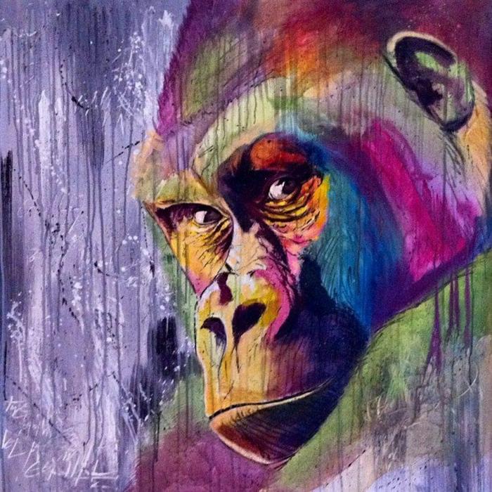 bunte-Graffiti-Bilder-Gorilla-Gesicht