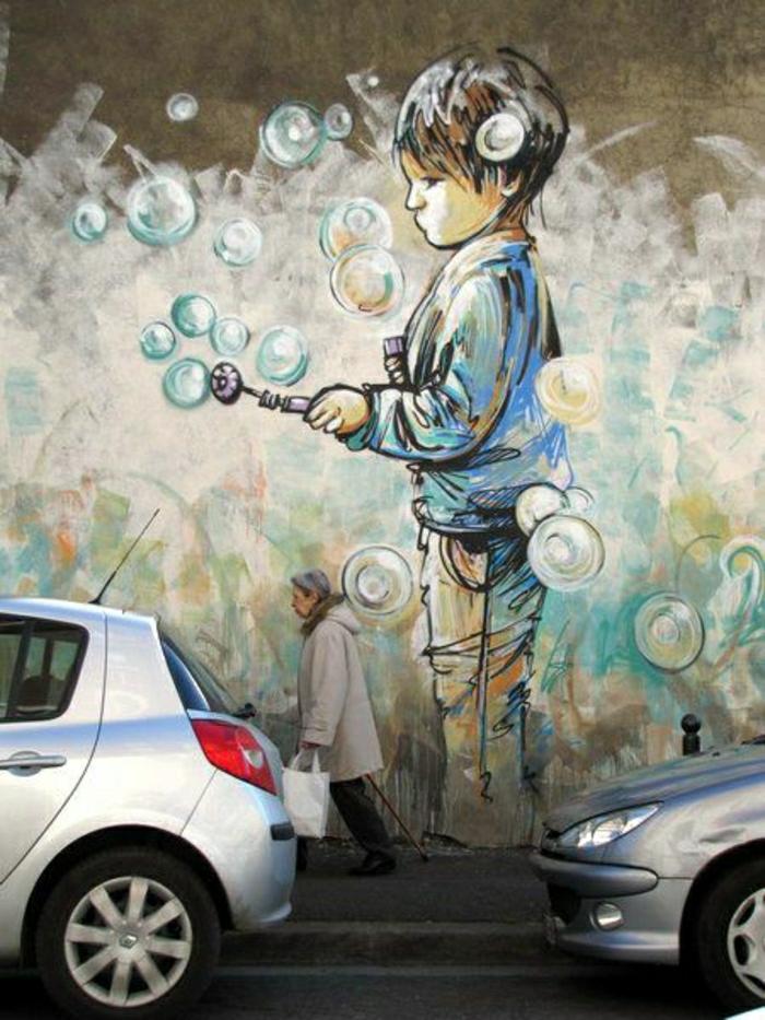 coole-Graffiti-Junge-Blasen-putzen
