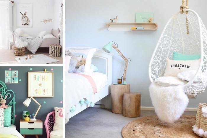 deko für kinderzimmer, weißer schaukel, mädchenzimmer gestalten, jugendzimmer für mädchen