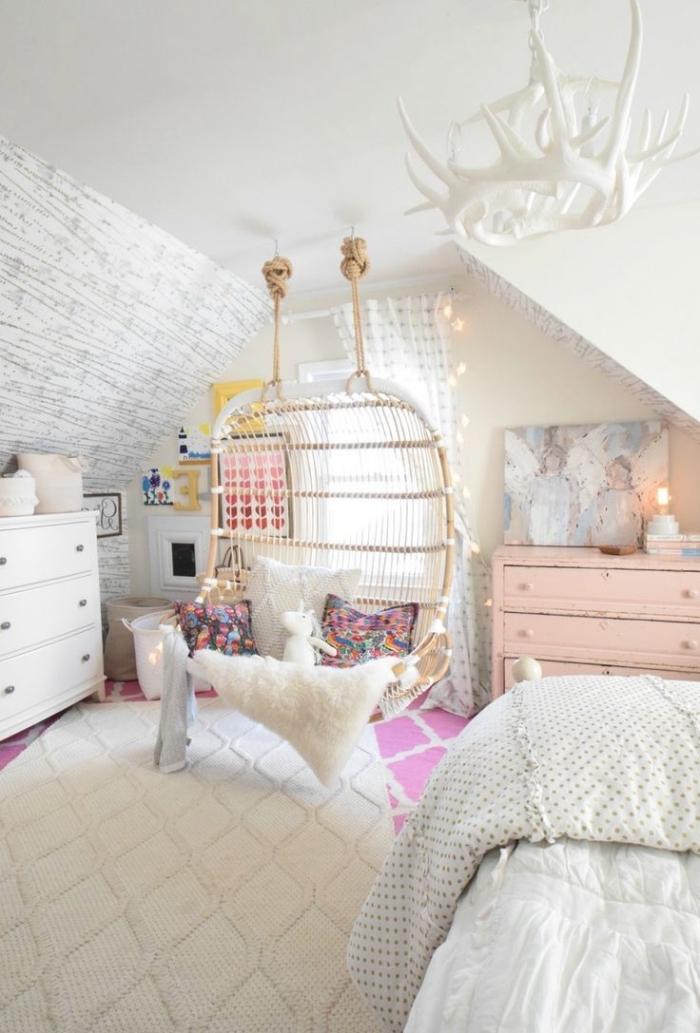 deko für kinderzimmer, zimmer dekorieren, mädchenzimmer gestaltungsideen, schaukel