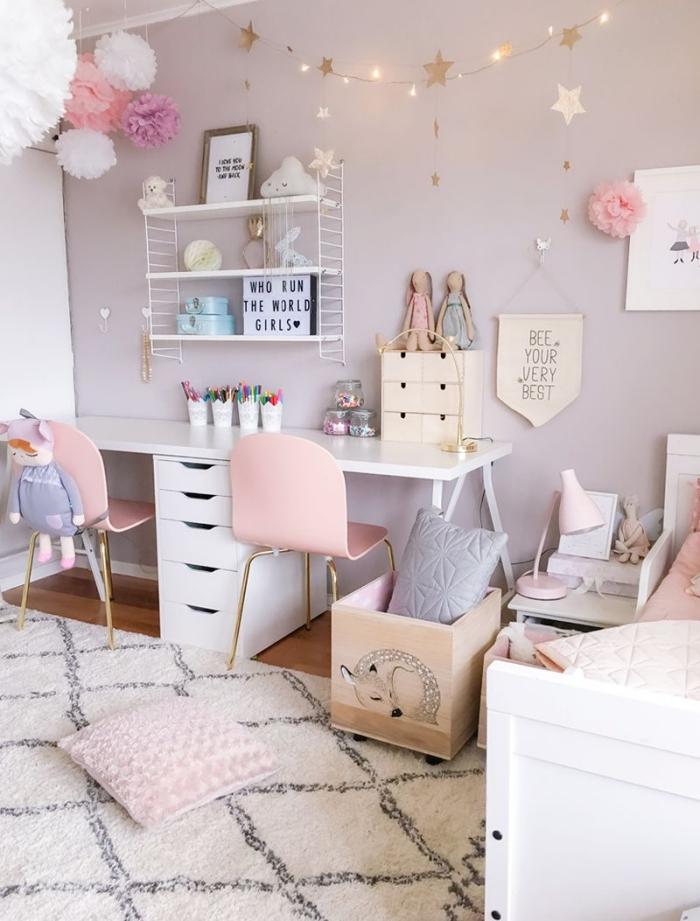 deko fürs zimmer, kinderzimmer dekorieren, kinderzimmerdeko in rosa und helllila