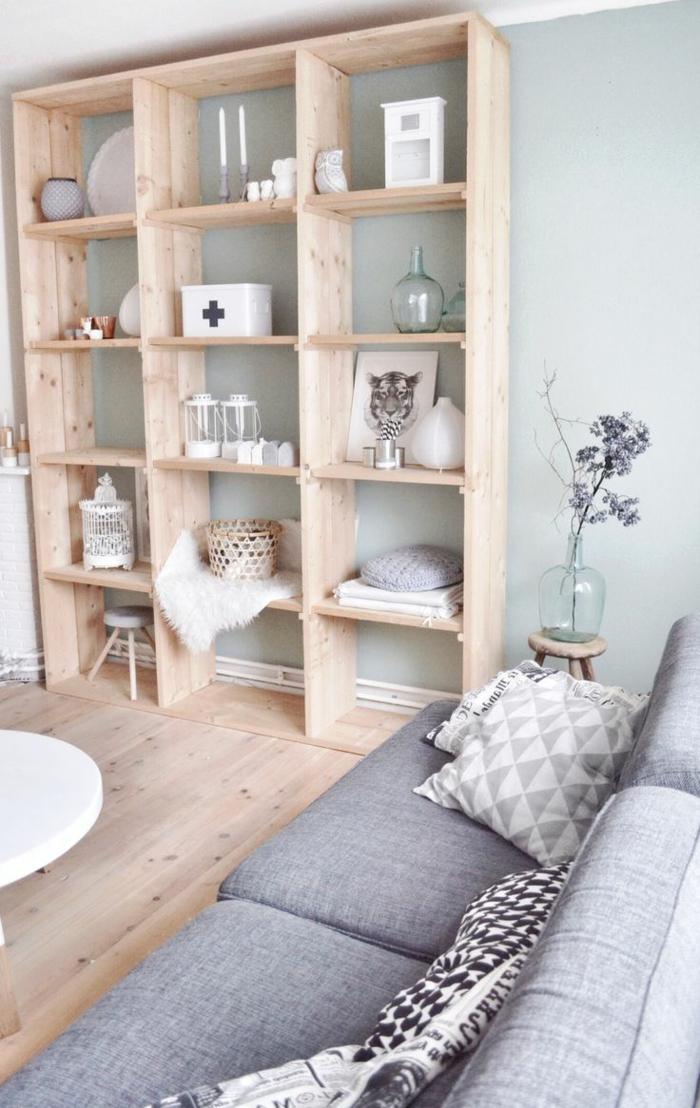 Bucherregale Aus Holz Privatausstellung Wohnzimmerwand – Topby.Info