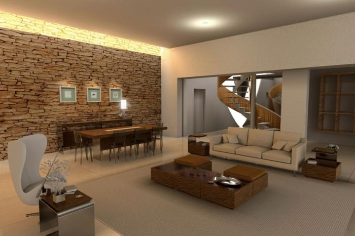 wohnzimmer steinwand beleuchtung – progo