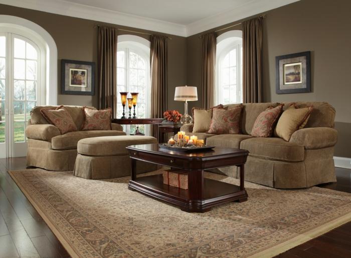 dekoration-im-wohnzimmer-sofas-in-braun